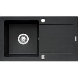 Zestaw PYRAMIS Zlewozmywak ALMA 1B1D Czarny + Bateria BELLO + Deska